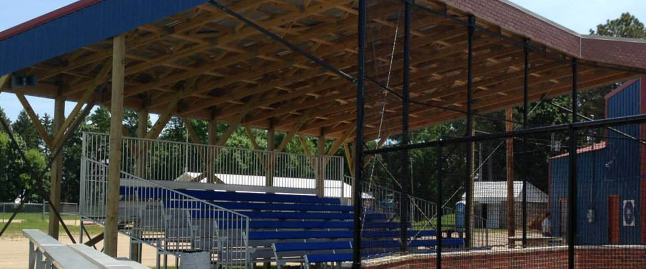 Baseball stands and overhead awning built using materials supplied by Lifestyle Lumber